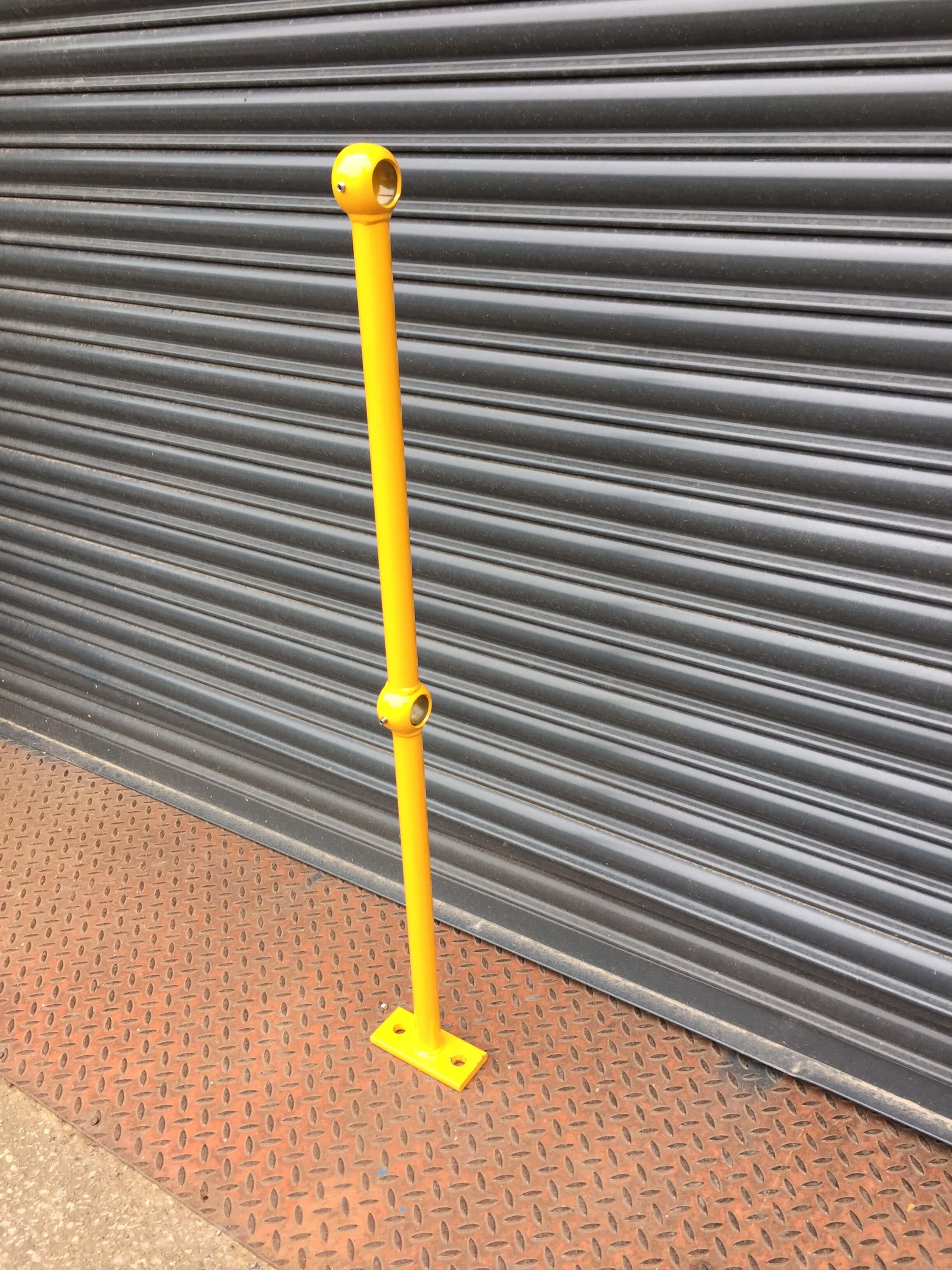 Yellow Powder Coated Tubular Handrail Post Type 1A ...
